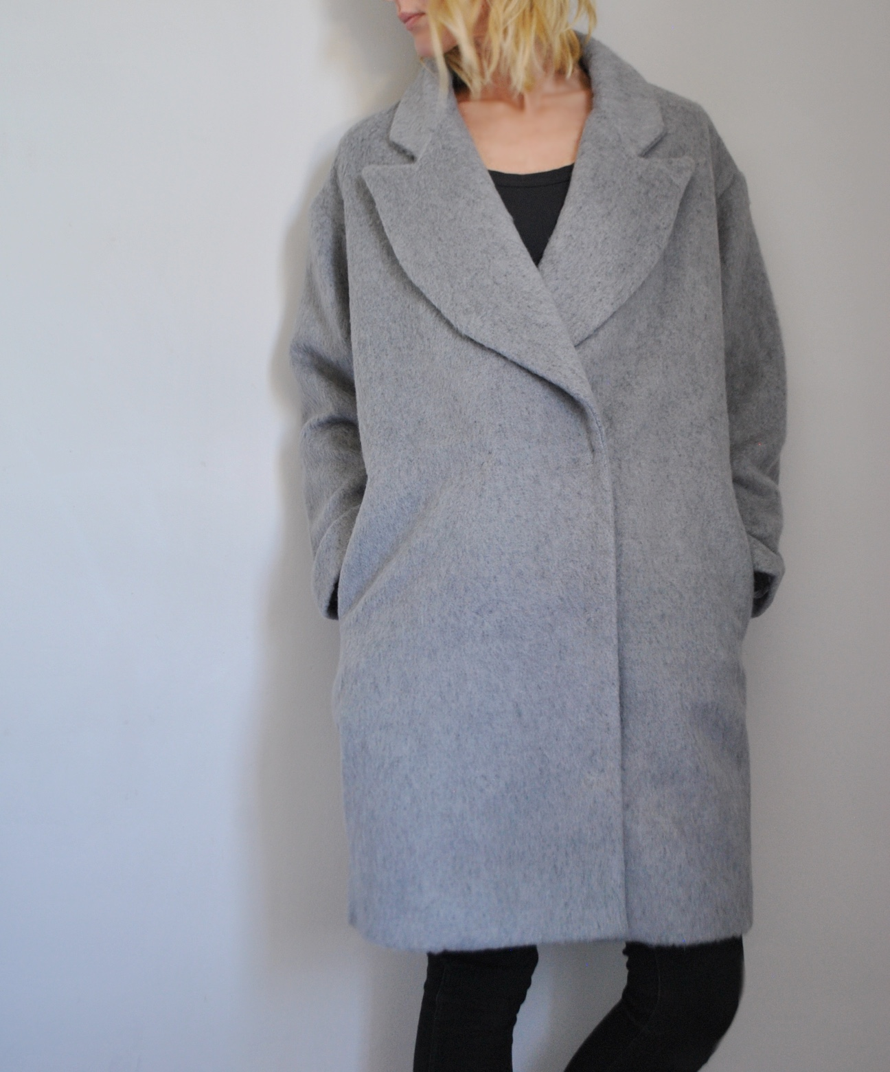 grey wool cocoon coat