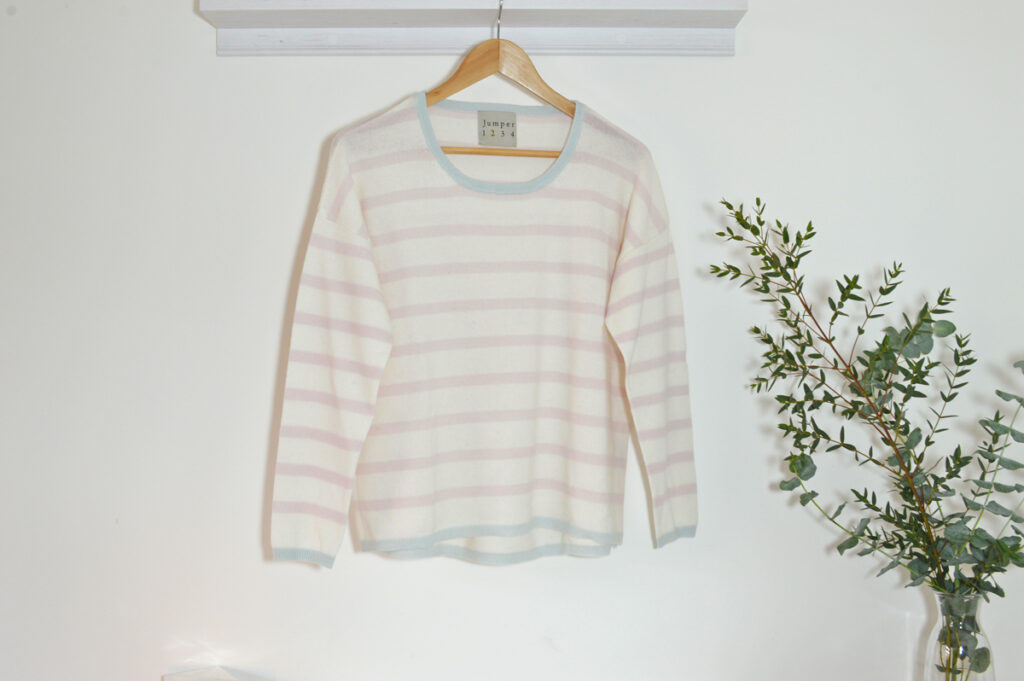 Jumper 1234. Pale Pink Stripe Cashmere Jumper