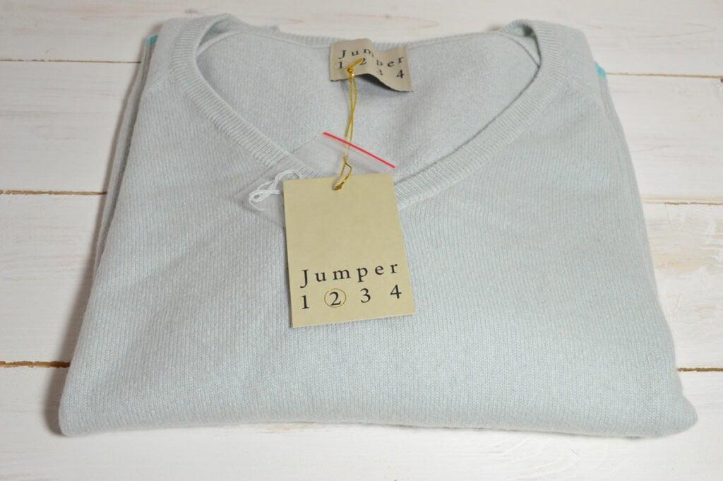 Jumper 1 2 3 4. Pale Blue V Neck