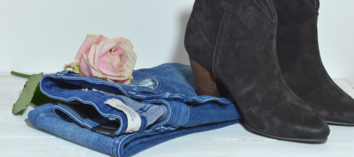 Womens Society. Demin Story. Jeans and Boots. Pinks and Blues. Image by Susan Bradfield