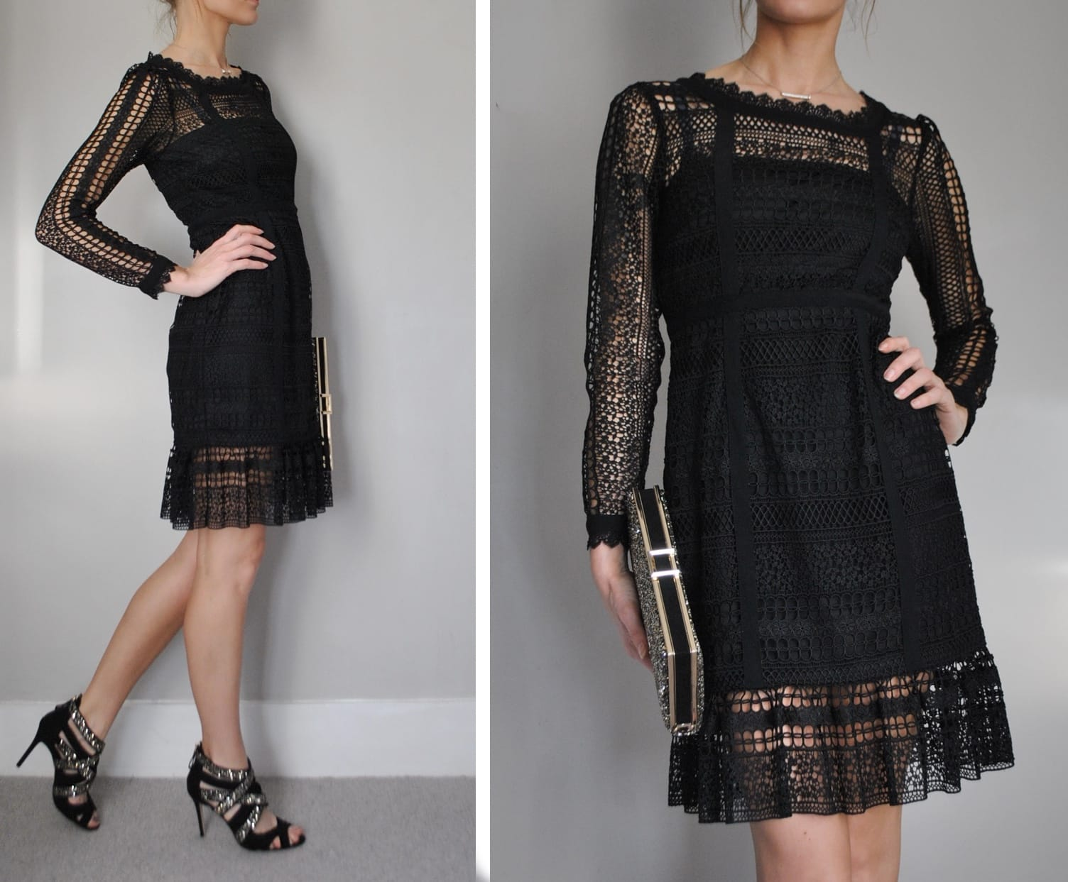 Gina-Bacconi-Black-lace-dress