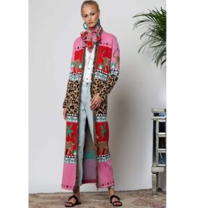 HAYLEY MENZIES Duster long cardigan LEOPARDESS