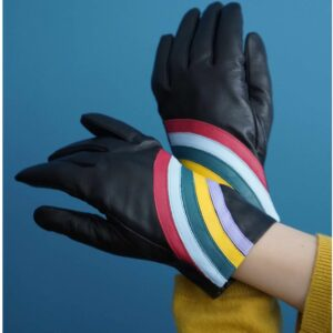 MABEL SHEPPARD Luxrex cuff leather gloves BLACK